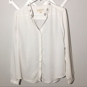 MICHAEL Michael Kors button down grommet blouse